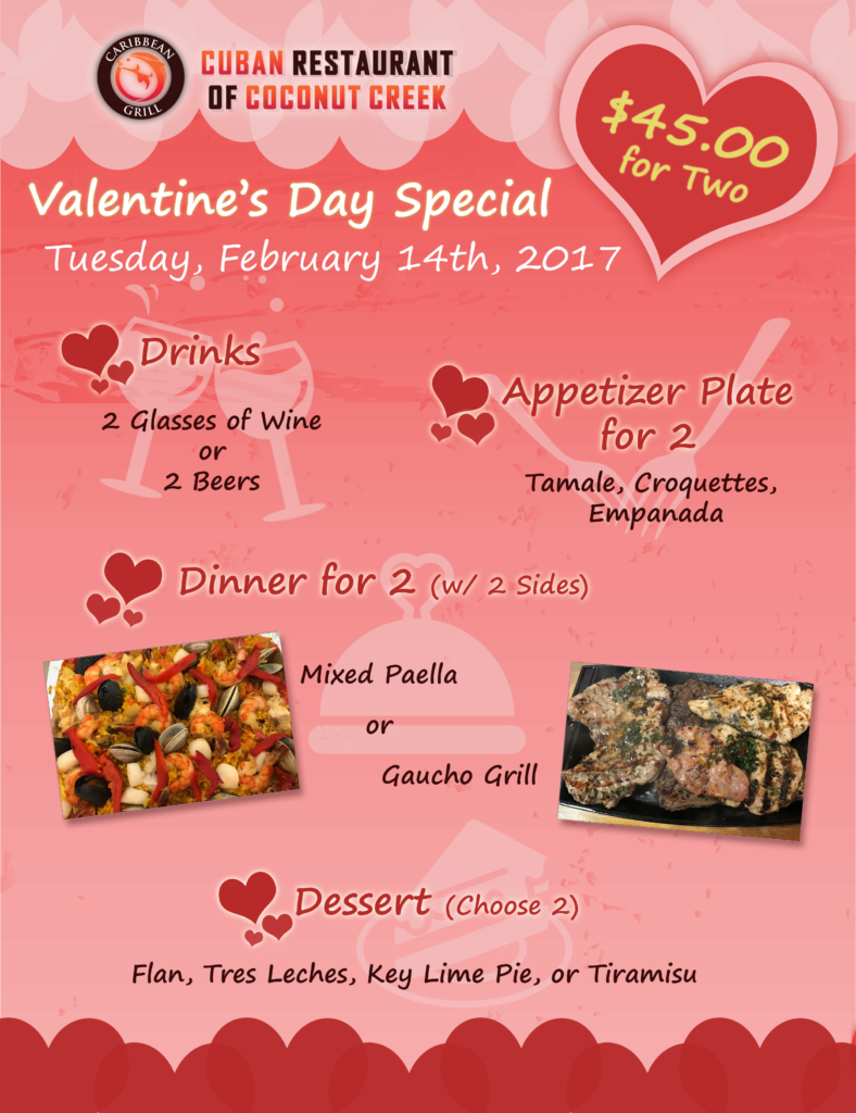 Caribbean Grill Cuban Restaurant Valentine's Day