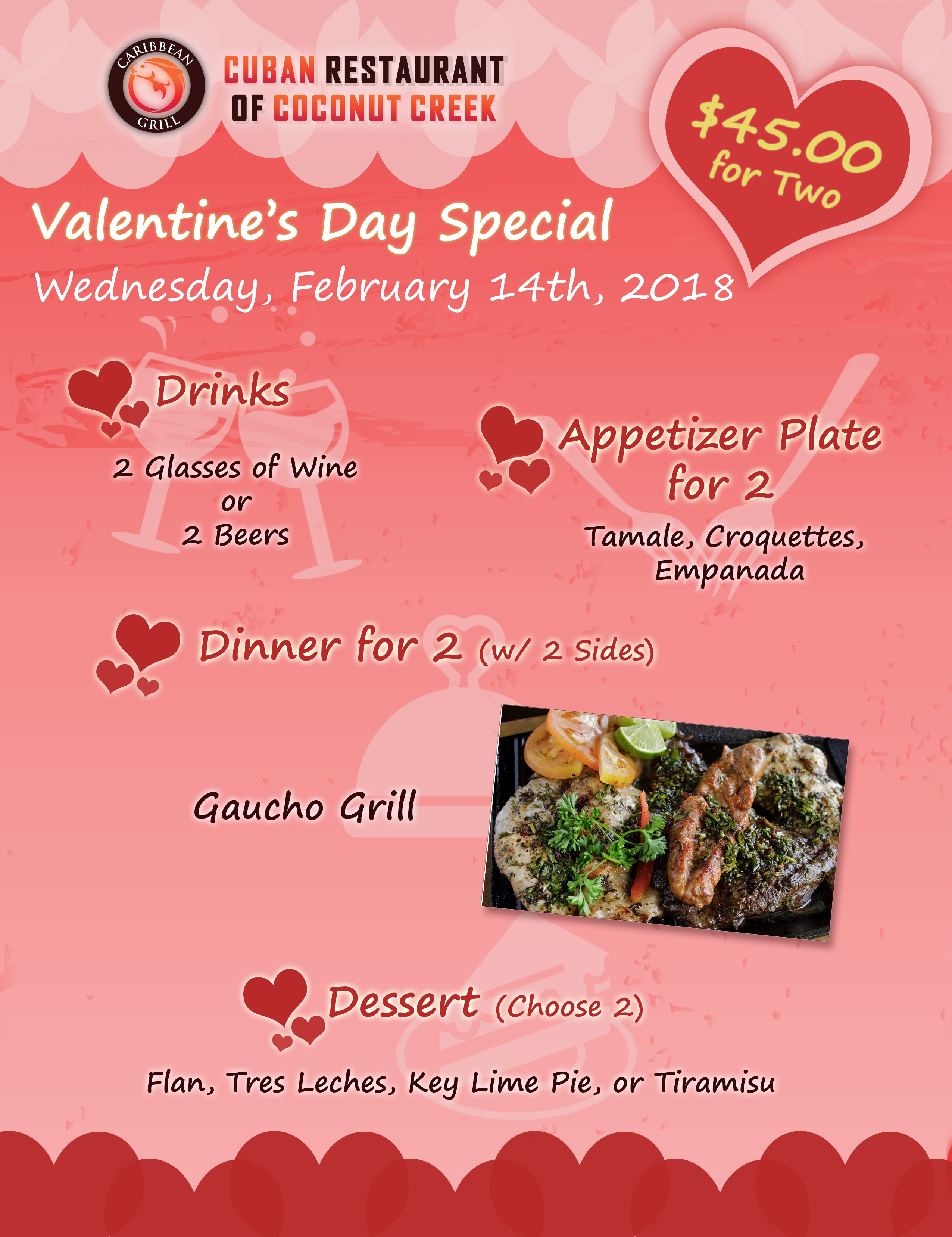 Caribbean Grill Cuban Restaurant of Coconut Creek Valentine's Day Special 2018
